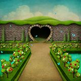 Fairy tale green background. Conceptual fantasy green background with white and red roses and Grand entrance to the Park . Computer graphics Royalty Free Stock Photo