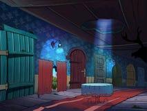 Fairy tale hallway with many doors. Stock Image