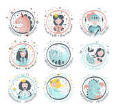 Fairy Tale Heroes Girly Stickers In Round Frames Stock Photo