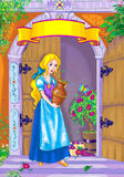 Fairy tale heroine. Page with fairy tale beauty and empty scroll where could be some text Stock Images