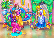 """Fairy tale heroines. Illustration for old  fairy tale such as  """"Cinderella"""" or smth by Grimm brothers or S. Perro Royalty Free Stock Photography"""