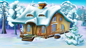 Fairy Tale House  on the Edge of a Forest in Winter Day Royalty Free Stock Photo