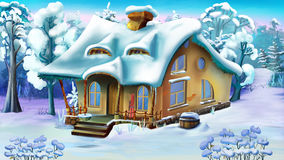 Fairy Tale House on the Edge of a Snowy Forest Royalty Free Stock Images