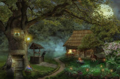 Fairy-tale house in the forest. Fairy house on the edge of the forest in a moonlit night Stock Image