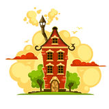 Fairy-tale house over sunset clouds stock illustration