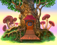 Fairy-tale house in the tree. A fairy-tale house in a tree. The illustration on a purple background stock illustration