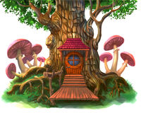 Fairy-tale house in the tree Royalty Free Stock Images