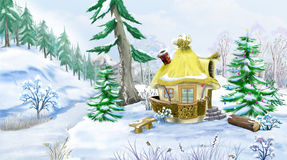 Fairy Tale House in a Winter Forest at Christmas Eve. Snowman with a Christmas Tree in a Fairy Tale New Year Night. Handmade animation in classic cartoon style royalty free illustration