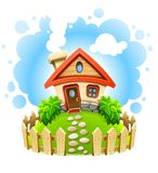 Fairy-tale house in yard with wooden fence Royalty Free Stock Photos