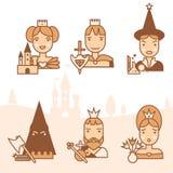 Fairy tale icons set Stock Photos