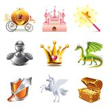 Fairy tale icons vector set. Fairy tale icons photo-realistic vector set Royalty Free Stock Photo