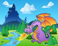 Fairy tale image with dragon 1 Stock Photos