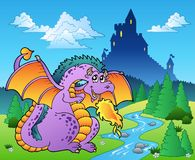 Fairy tale image with dragon 2 Royalty Free Stock Image