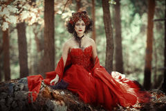 Fairy-tale image of a girl in the forest. A fairy-tale image of a girl in a red dress in a forest with big stones stock photo
