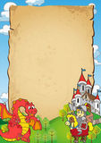Fairy Tale Invitation. Frame with fary tale inspired design - a knight and a dragon that can be used as notice, photobackground or invitation for party or royalty free illustration