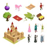 Fairy Tale Isometric Icons Set Stock Photography
