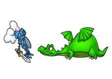Fairy tale kind dragon medieval knight cartoon illustration vector illustration