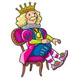 Fairy tale king. Children vector illustration of fairy tale king in crown on the chair Stock Photos