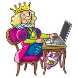 Fairy tale king. Children vector illustration of fairy tale king in crown on the chair with the laptop on the table Stock Photos