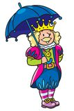 Fairy tale king. Children vector illustration of fairy tale king in crown with umbrela Stock Photos