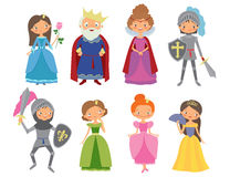Fairy tale. King, Queen, Knights and Princesses. Cartoon vector illustration Royalty Free Stock Image