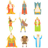 Fairy-Tale Kings Set Of Cartoon Fun Illustrations Stock Images