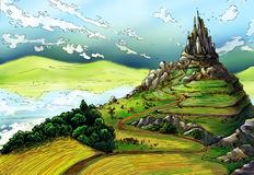 Fairy tale landscape with castle. And green, rich lands around it. There is a lake, and fields, and mill, and houses, and mountains around. The sky is blue and Royalty Free Stock Image