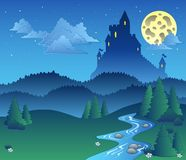 Fairy tale landscape at night 1 Royalty Free Stock Image