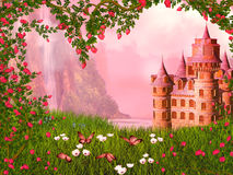 Fairy tale landscape. Wonderful fairy tale landscape illustration with roses and castle Royalty Free Stock Photography