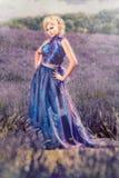 Fairy-tale lavender woman Stock Photos