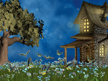 Fairy tale lawn. With forget-me- not flowers Stock Photo