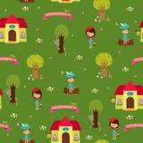 Fairy tale Little Red Riding Hood. Seamless wallpaper design. Fairy tale Little Red Riding Hood Stock Photos