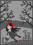 The fairy tale the Little Red Riding Hood in the w Royalty Free Stock Photography