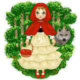 Fable of Little Red Riding Hood. Red Riding Hood walking in the woods with a snack and the Wolf is following stock illustration