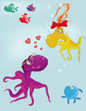 Fairy tale about love and octopuses. Animals background Royalty Free Stock Photos