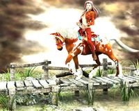 Fairy tale - Luminous Energy. Beautiful girl on horse trying to pass a wooden bridge Royalty Free Stock Image