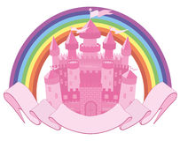 Fairy Tale magic castle and rainbow Stock Photo