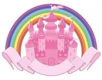 Fairy Tale magic castle and rainbow. Vector Stock Photo