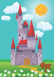Fairy Tale magic Princess Castle, summer season, illustration fo Royalty Free Stock Images
