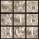 Fairy Tale Miniatures and Initial Letters Collection Royalty Free Stock Image