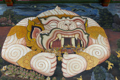 Fairy tale monkey in traditional thai style painting. Of temple in thailand Stock Photos
