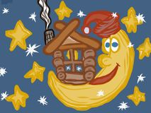 Fairy tale moon and house artistic drawing Royalty Free Stock Photography