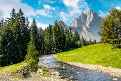 Fairy tale mountainous summer landscape stock photos