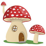 Fairy Tale Mushroom House. Fairy tale cartoon mushroom house, isolated on white background. Eps file available Royalty Free Stock Photos