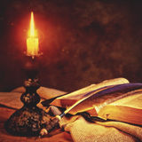Fairy Tale. Old fashioned backgrounds with opened vintage book Royalty Free Stock Photo