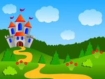Fairy-tale palace on the fringe of the forest. Vector illustration Royalty Free Stock Photo