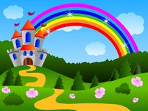 Fairy-tale palace on the fringe of the forest. Vector illustration Stock Photography