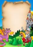 Fairy tale parchment 1. Color illustration Stock Photo