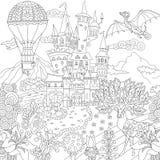 Zentangle fairytale magic landscape Stock Photos