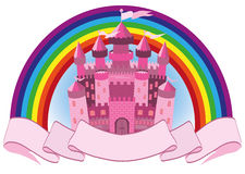 Fairy Tale pink magic castle and rainbow. Vector illustration Royalty Free Stock Photography